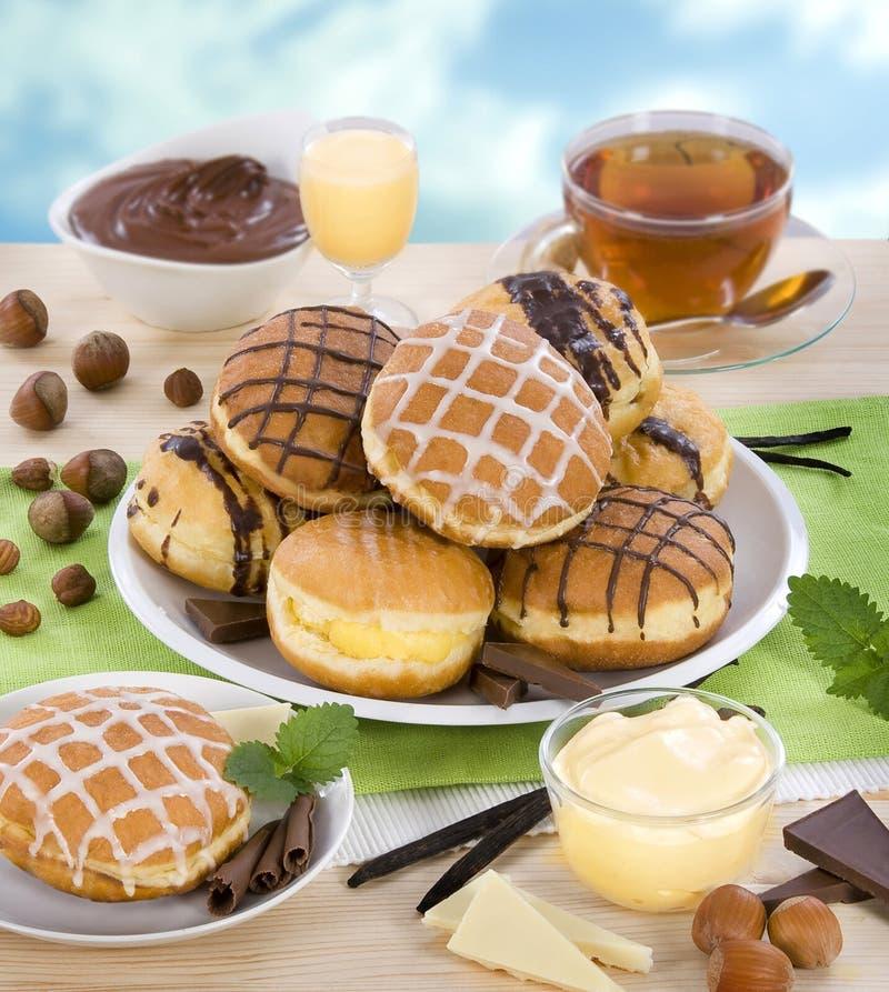 Likeur en chocolade donuts stock fotografie