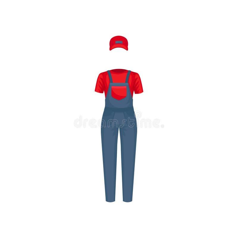 Likformig av kuriren Rött lock, t-skjorta och blå overall Kläder av hemsändningarbetaren Plan vektordesign vektor illustrationer