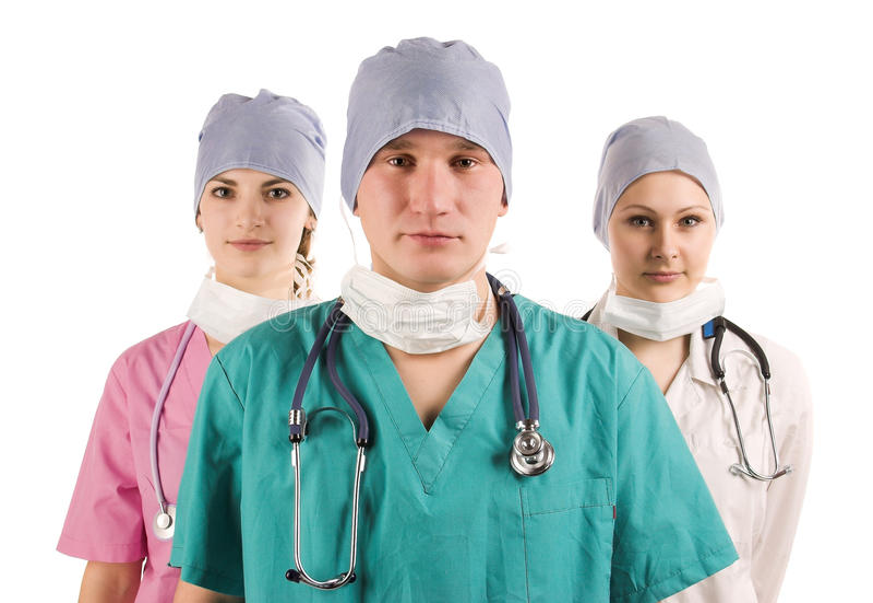 likformig för doktorer tre arkivbilder