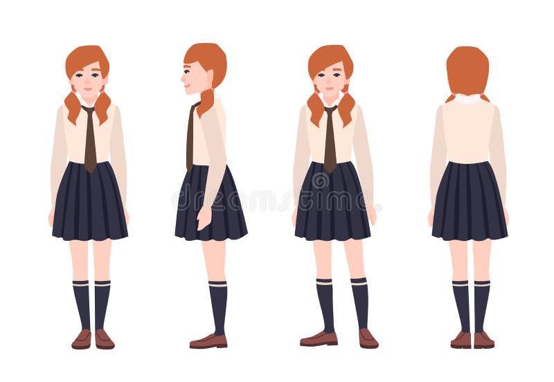 Likformig för skola för ung rödhårig manflicka iklädd Kvinnlig student eller elev som bär formell kläder plant tecknad filmtecken royaltyfri illustrationer