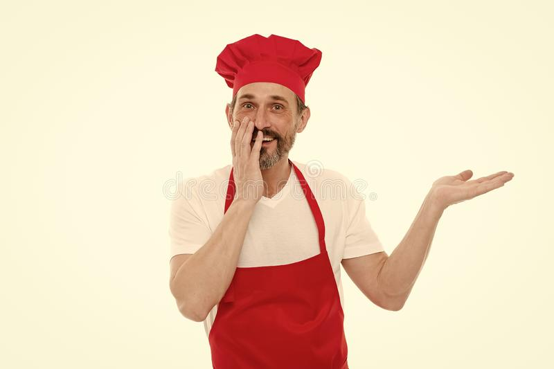 Likformig f?r att laga mat Kock i restaurang Att laga mat ?r min hobby L?r att laga mat mitt k?k att v?lkomna Aktuellt menybegrep arkivbild