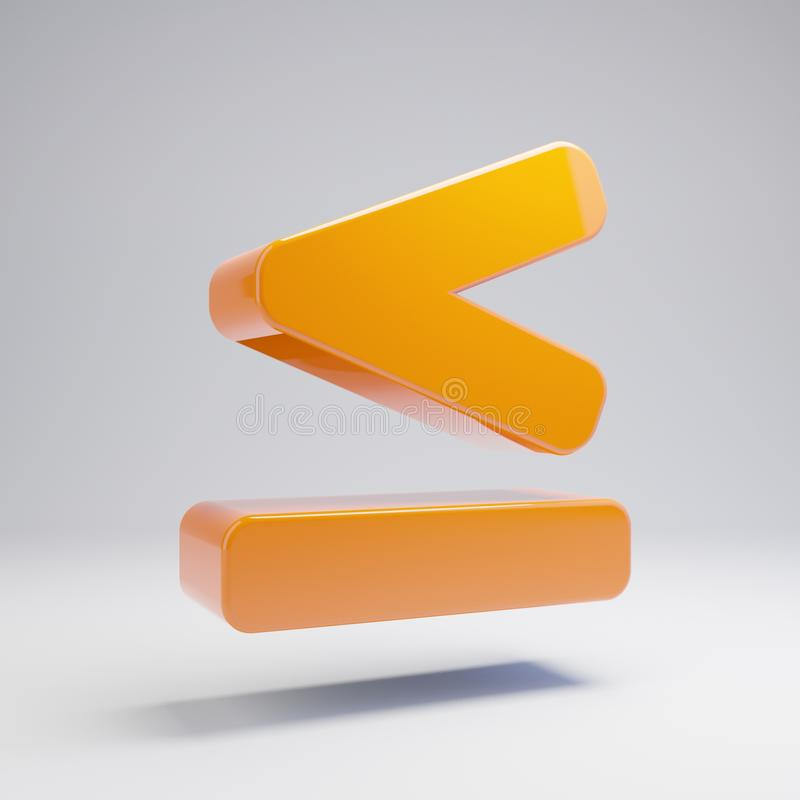 Likställer den volymetriska glansiga varma apelsinen mindre än symbolen som isoleras på vit bakgrund royaltyfri illustrationer