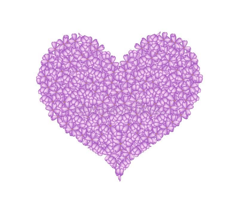 Lilás ou Syringa roxo vulgar em uma forma do coração ilustração do vetor