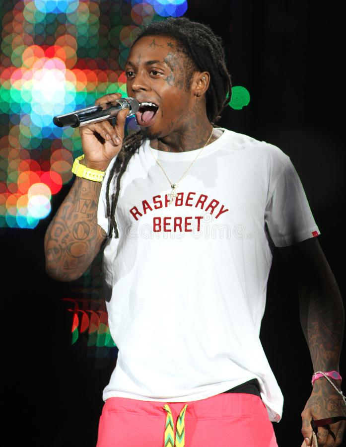 Lil Wayne performs in concert. At the Cruzan Amphitheater in West Palm Beach, Florida on August 2, 2011 royalty free stock image