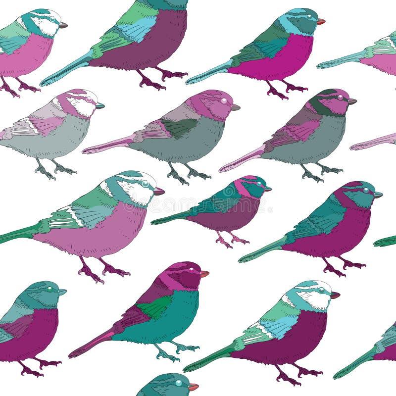 Lila και τυρκουάζ άνευ ραφής σχέδιο πουλιών διανυσματικό λευκό καρ&chi διανυσματική απεικόνιση