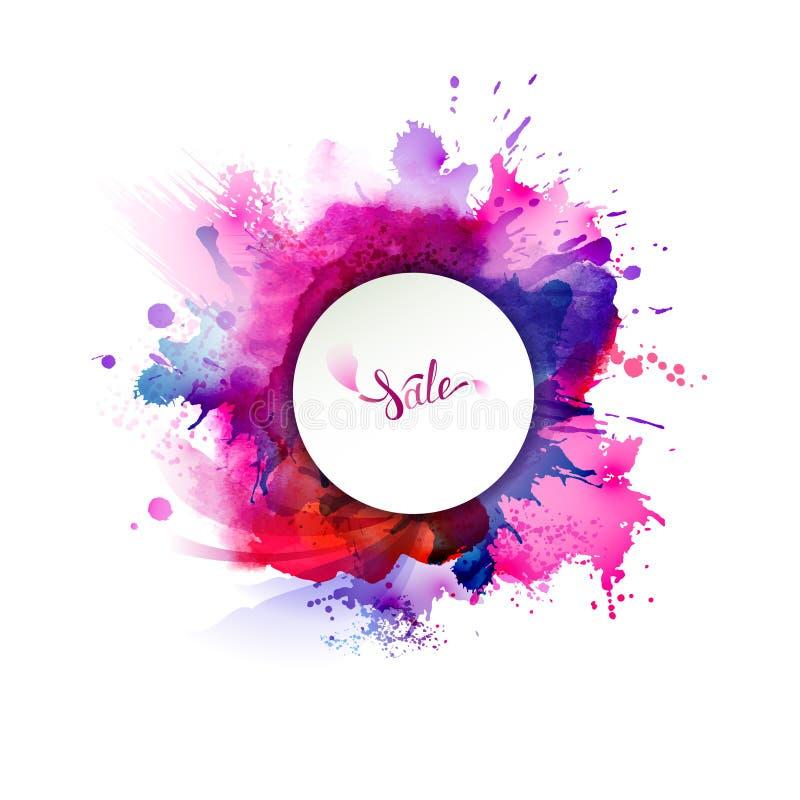 Lila-, blått-, lila-, apelsin- och rosa färgvattenfärgfläckar Ljus färgbeståndsdel för abstrakt konstnärlig bakgrund vektor illustrationer
