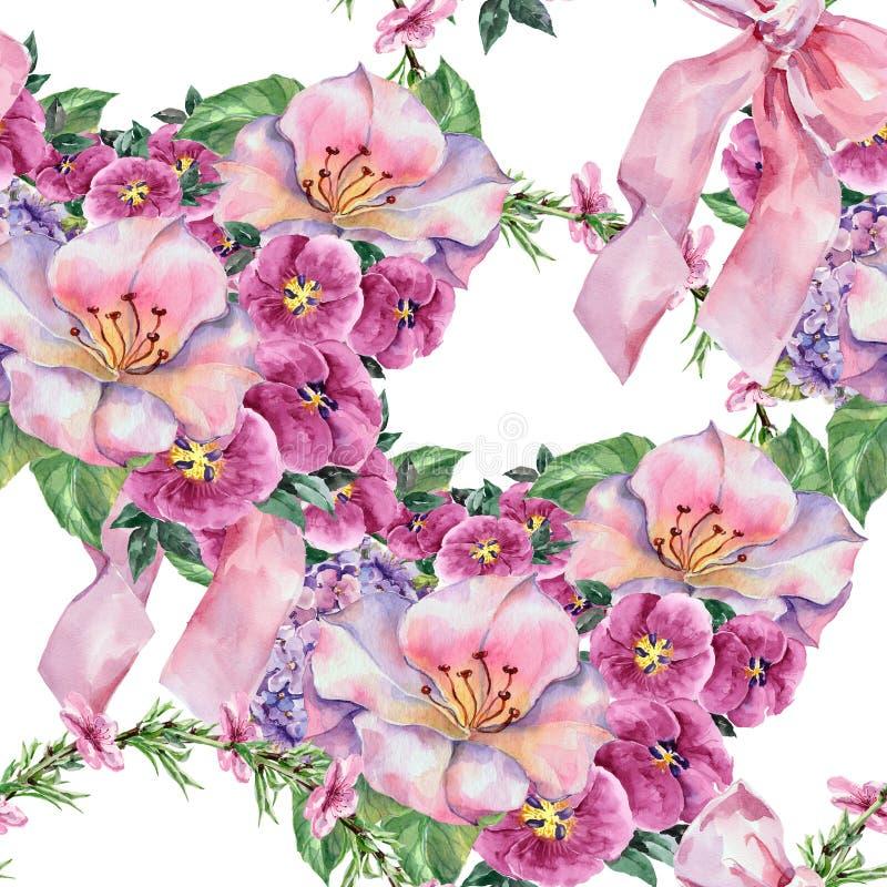 Lila blomma för korg, pilbågevattenfärg, bukett, sömlös träsko vektor illustrationer