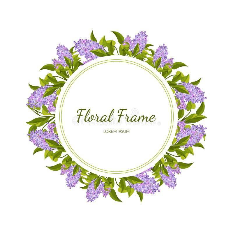 Lila blommor rundar ramkortmallen med att blomma blommor, det eleganta blom- banret, affischen, bröllopinbjudan royaltyfri illustrationer