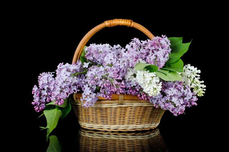 Lila Blumenstrauß in einem wattled Korb stockbild