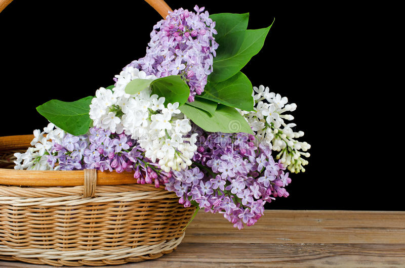 Lila Blumenstrauß in einem wattled Korb lizenzfreie stockfotos
