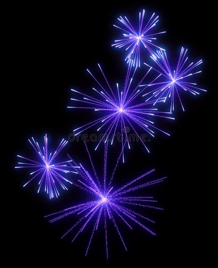 Lila festliche Feuerwerke nachts lizenzfreie abbildung