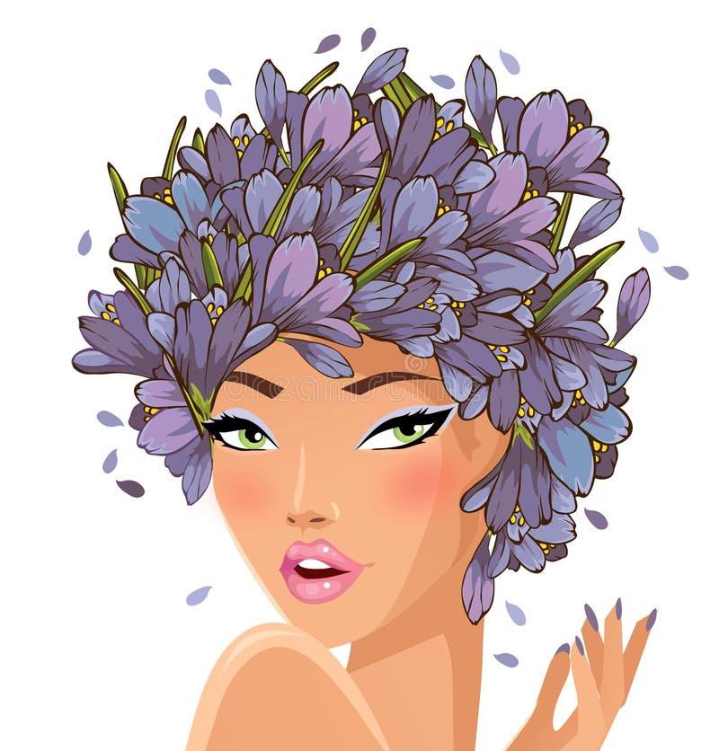 Lila hårskönhet stock illustrationer