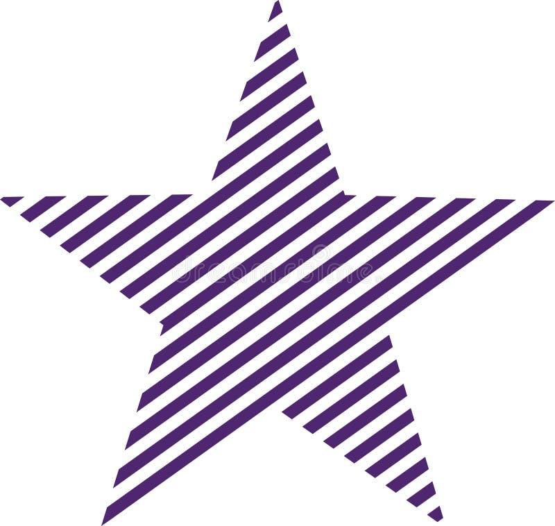 Lila listrou a estrela ilustração stock
