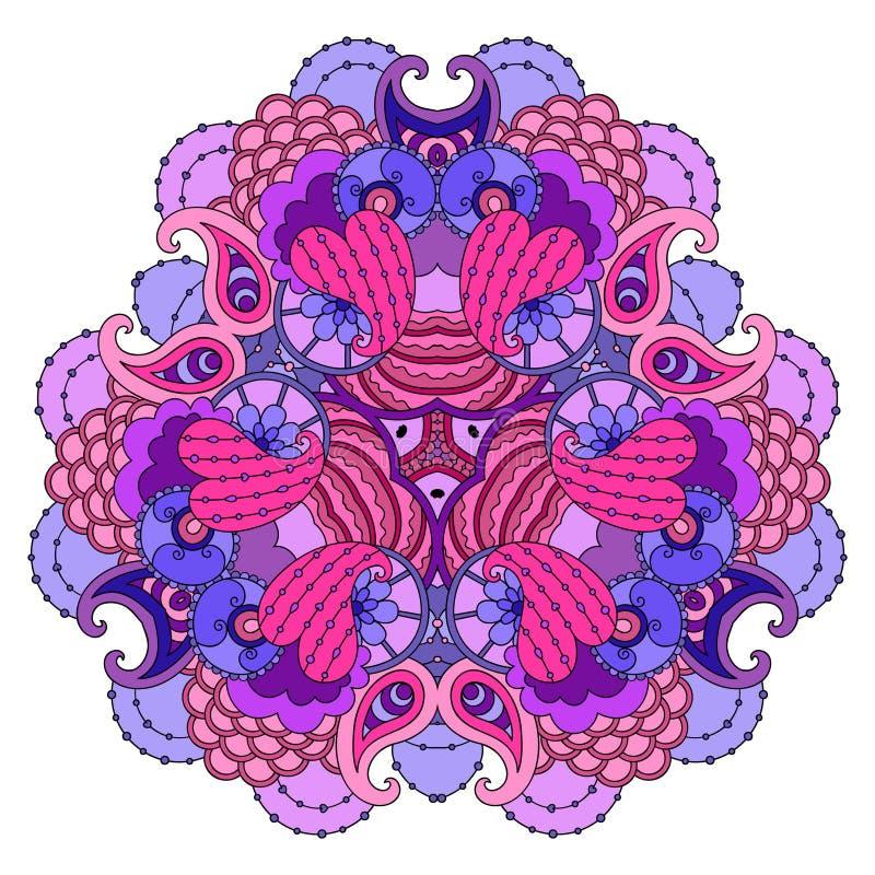 Lila-rosa färger mandala på vit bakgrund vektor illustrationer