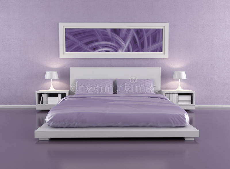Lila Schlafzimmer Stock Abbildung. Illustration Von Möbel - 24078691