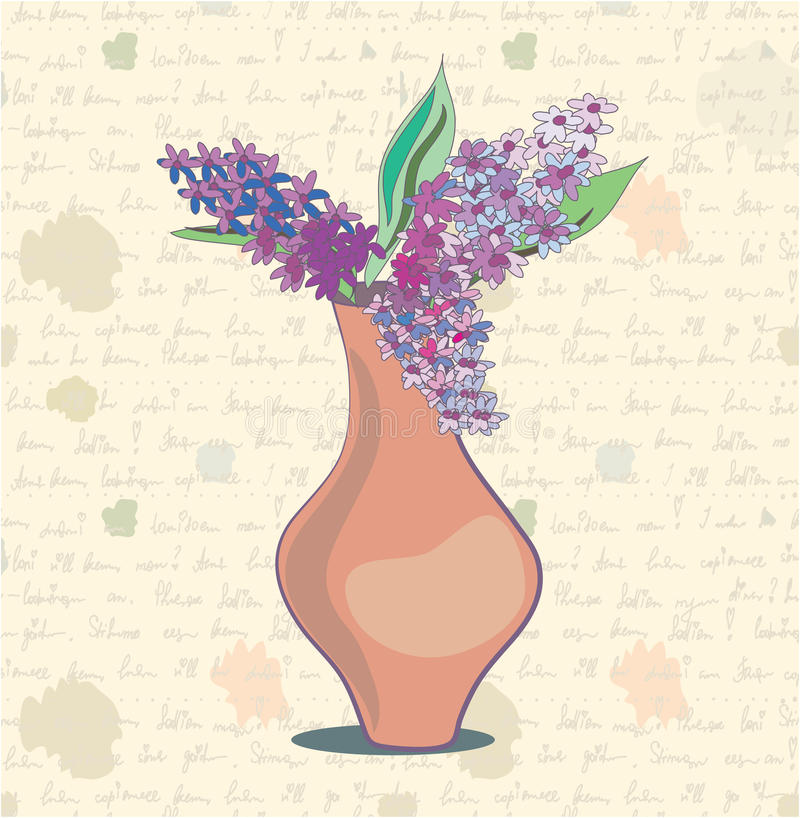 Lilac background vintage card