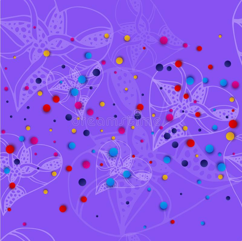 Lilac background with white hearts in the style of sketching and bright colored dots. Vector illustration vector illustration