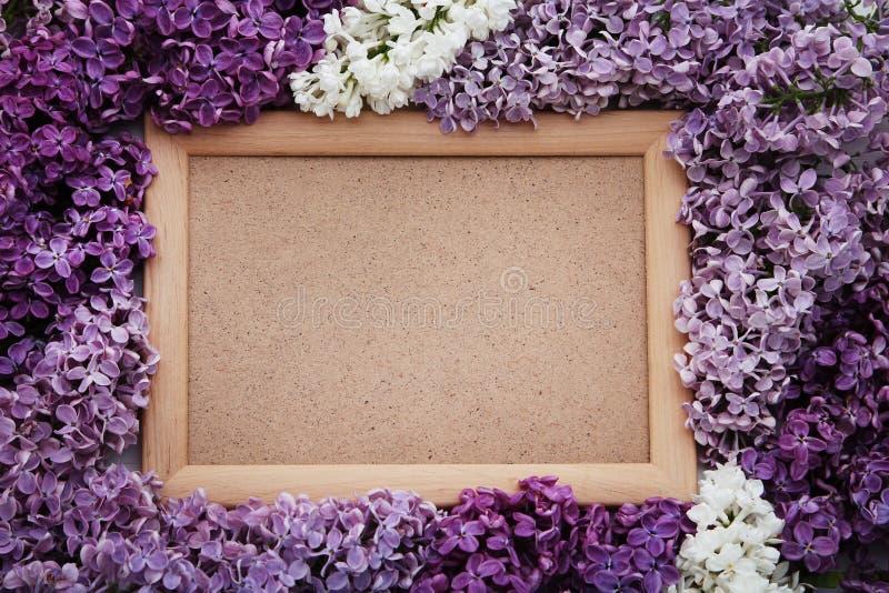 Lilac bloemen met houten kader stock foto's