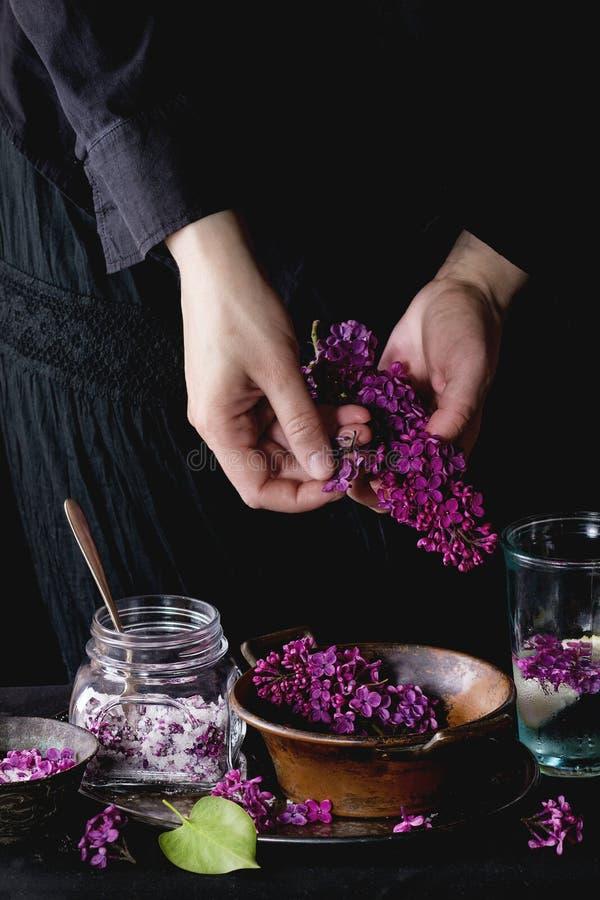 Lilac bloemen in suiker stock foto's