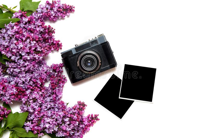 Lilac bouquet with retro film camera and photocards isolated on white royalty free stock photo