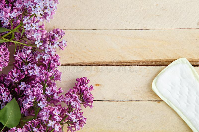 Lilac branch and female pads on wooden background. the view from the top.  stock image