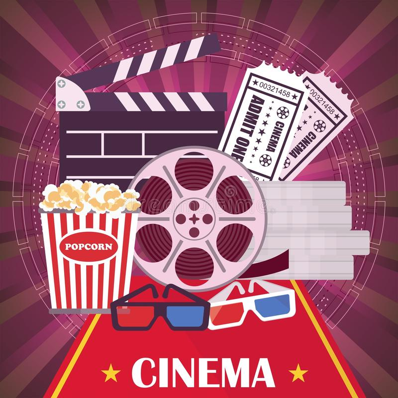 Lilac cinema poster. Director chair and searchlight, film, clapper. Template film poster for movie theater. Cinema concept. Flat vector cartoon illustration royalty free illustration