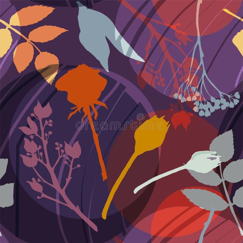 Lilac cirkels, gouden, grijze, oranje bloemen en bladeren op een purpere achtergrond Abstract bloemenpatroon Naadloos patroon stock illustratie