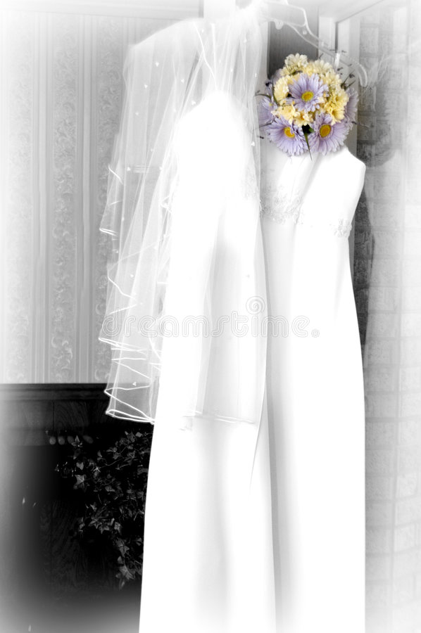 Download Lilac Daisies On Wedding Dress Stock Image