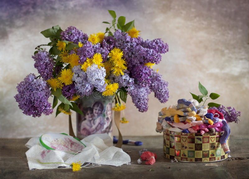 Download Lilac and dandelions stock image. Image of still, bouquet - 24676957