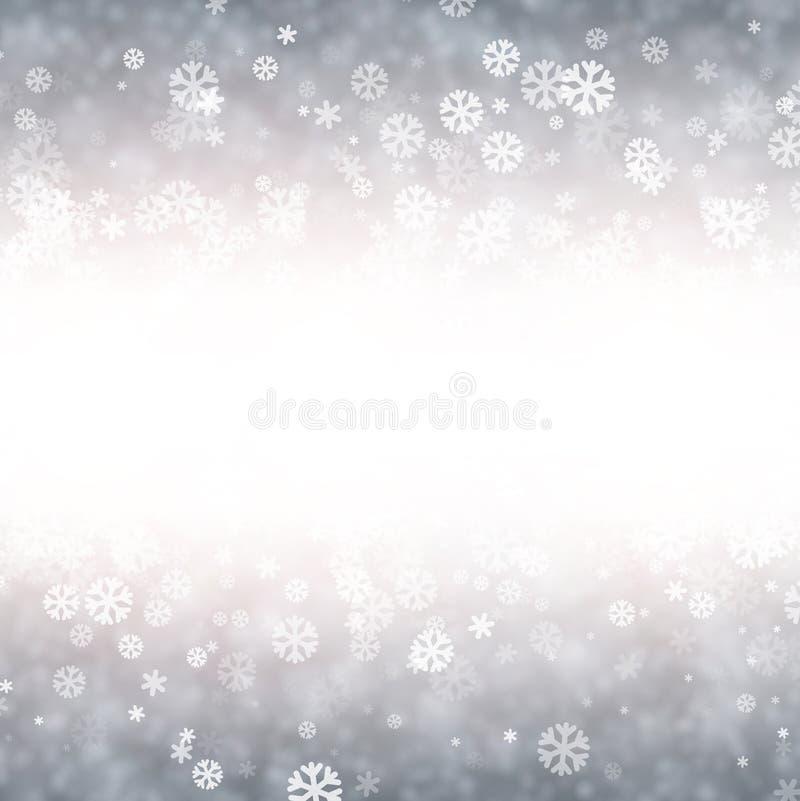 Lilac de winterachtergrond met sneeuwvlokken royalty-vrije illustratie