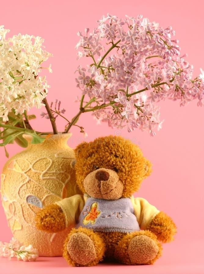 Lilac e um urso fotografia de stock