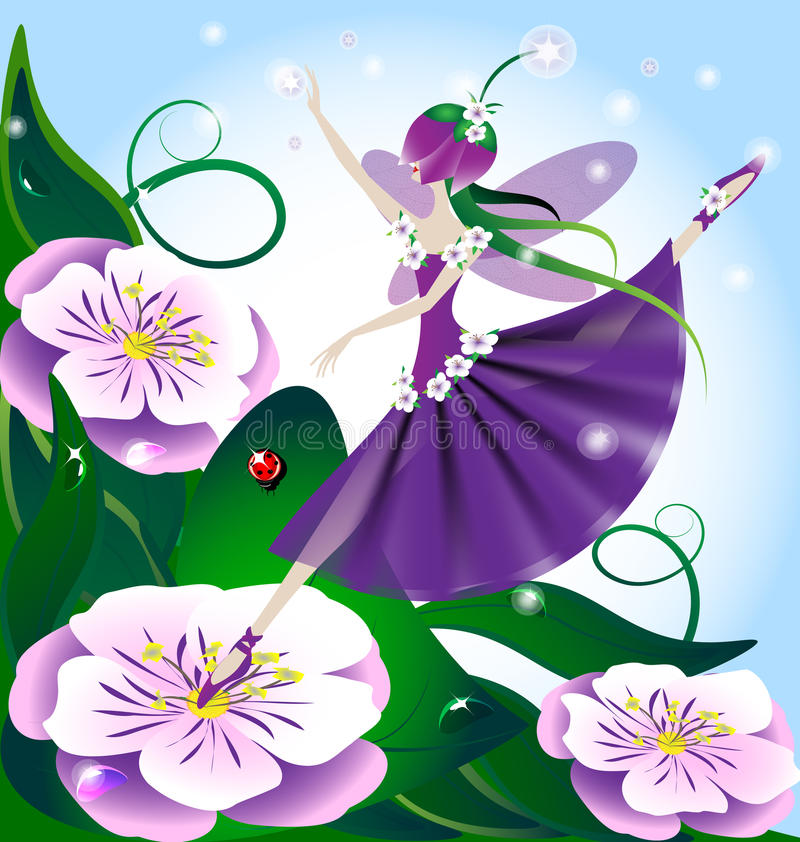 Lilac fairy. Against the backdrop of huge purple flowers and green grass, lilac fairy, the creative magic stock illustration