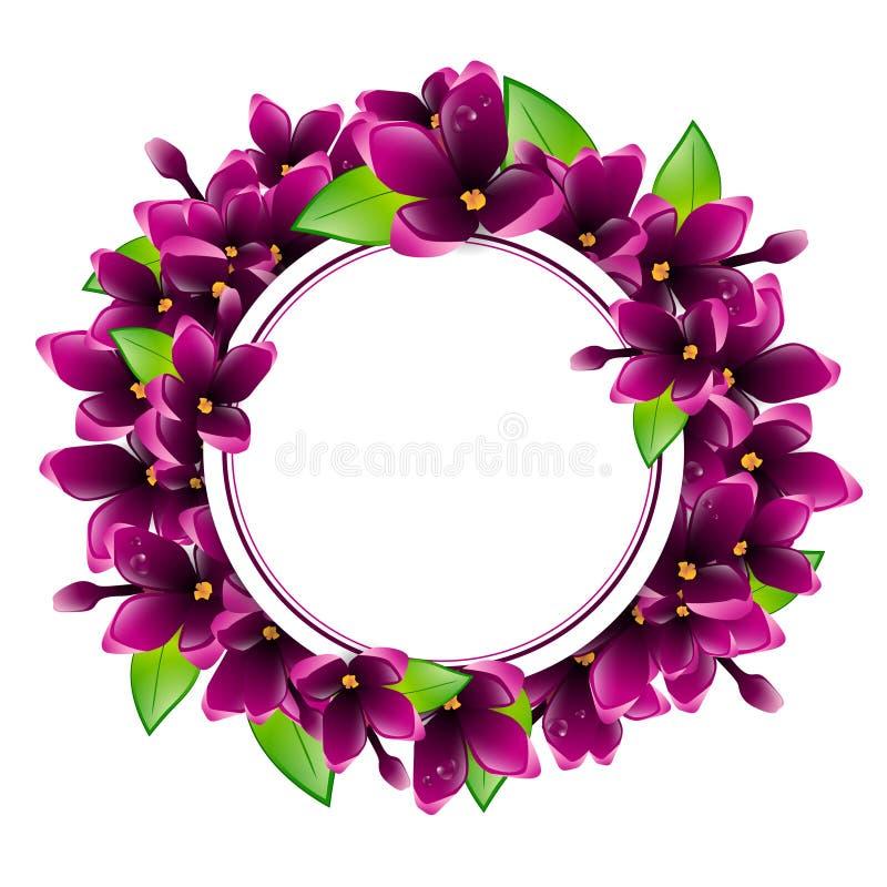 lilac flower round frame stock vector illustration of purple 50312538 rh dreamstime com lilac tree clip art lilac bush clip art