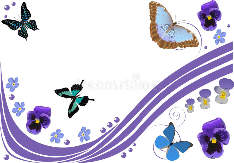 Download Lilac Flowers, Butterflies And Curls Stock Vector - Image: 16606326