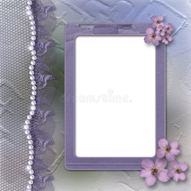 Lilac frame van Grunge voor foto met parels en kant vector illustratie