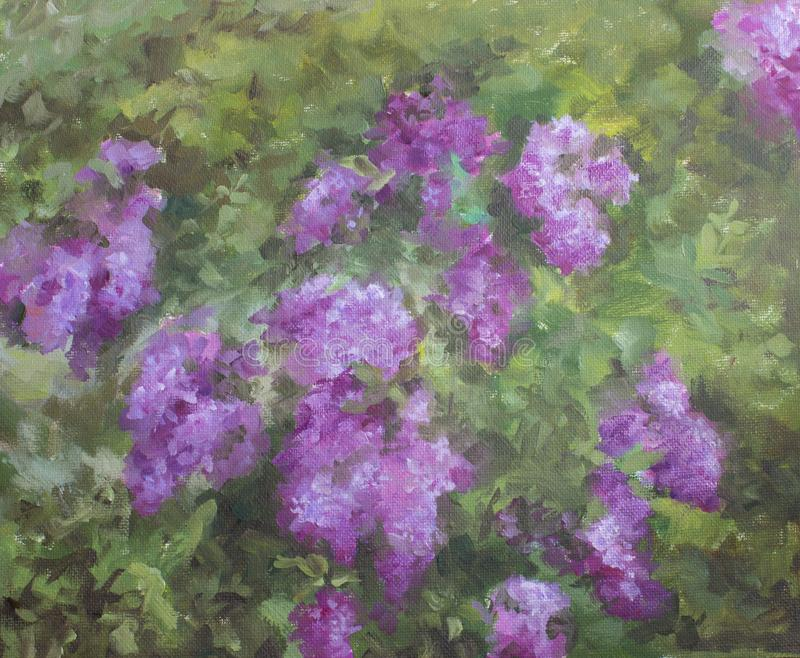 Lilac in the garden. Painting, oil on canvas. NLilac bloom in the garden. Painting, oil on canvas, etude.The picture is written in the garden stock photos