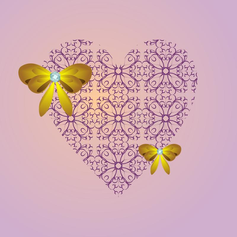 Lilac heart with a yellow bow. On a pink background royalty free illustration