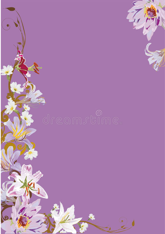 Lilac Illustration With Lily Flowers Royalty Free Stock Photo