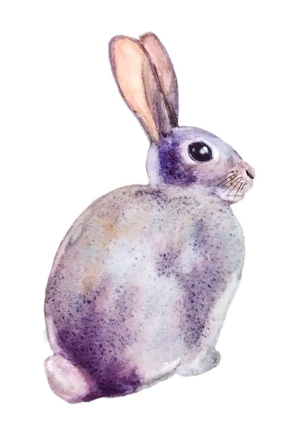 Lilac leuke pluizige Konijntjeszitting royalty-vrije illustratie
