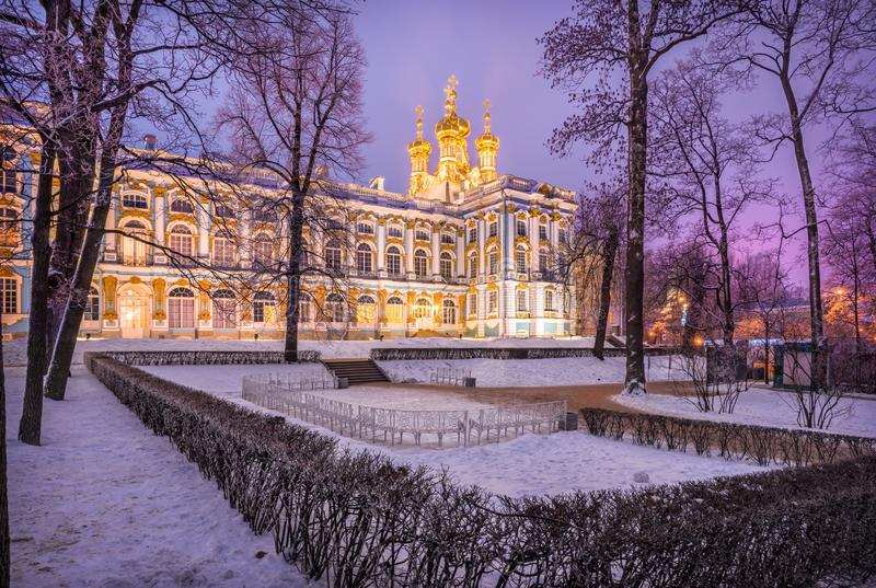 Lilac light of the evening near the Catherine Palace stock photography