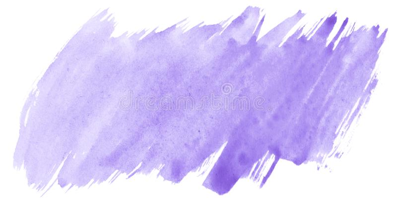 Lilac pastel watercolor hand-drawn isolated wash stain on white background for text, design. Abstract texture. Made by brush for wallpaper, label stock illustration