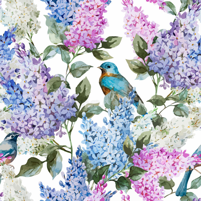 Lilac pattern. Beautiful watercolor vector lilac pattern flowers and birds