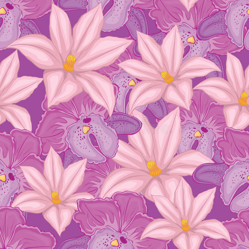 Free . Lilac Seamless Background With Pink And Lilac Orchids Stock Images - 42713784