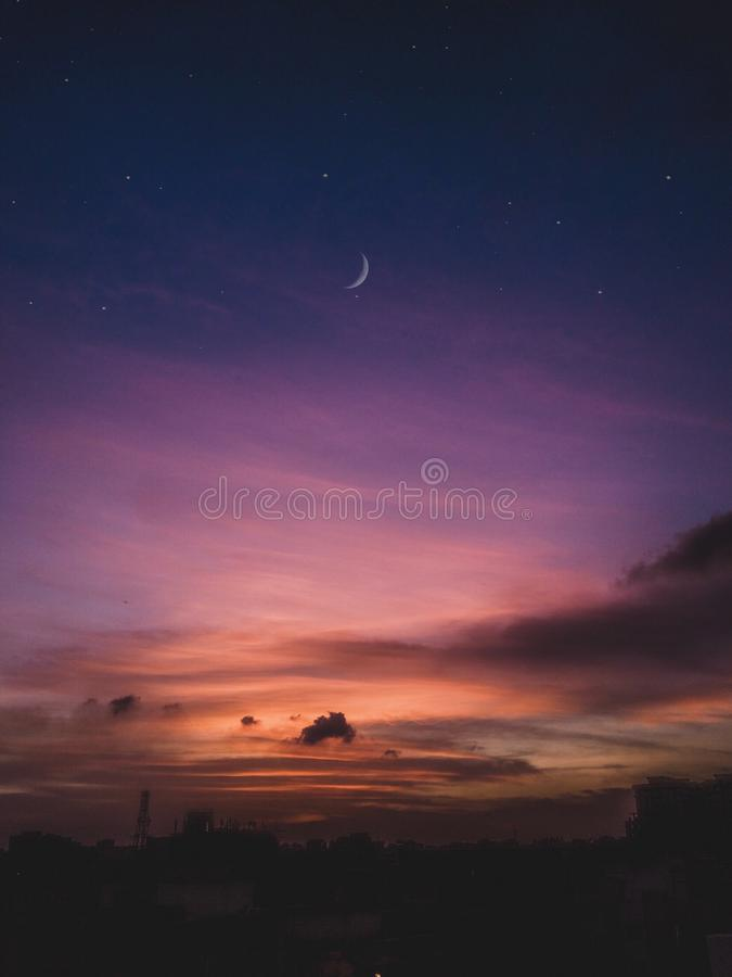 Lilac sky stock photos
