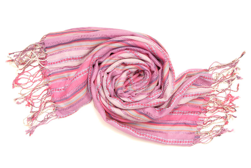 Lilac stripy scarf with fringe stock photography