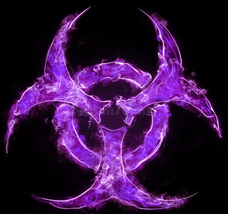 Lilac symbool van biologisch gevaar op een zwarte achtergrond Teken van biologisch gevaar Het concept chemisch afval, verontreini vector illustratie