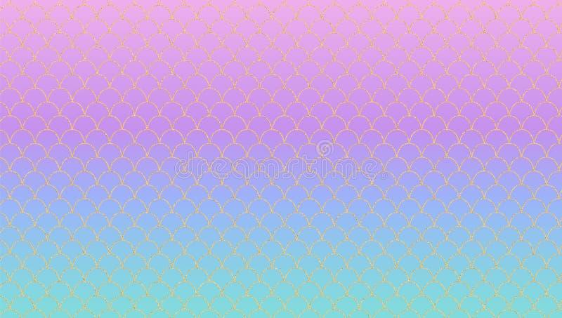 Lilac turkooise magische gradiënt vectorachtergrond De eenhoornachtergrond van het Kawaiipaarlemoer met gouden patroon stock illustratie