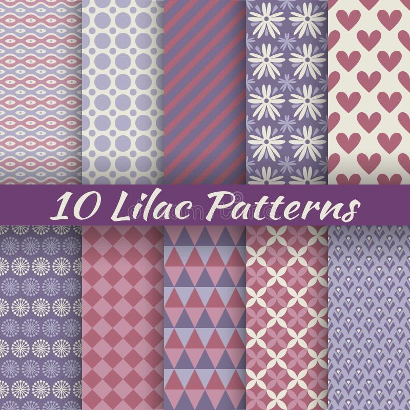 Lilac verschillende vector naadloze patronen (vierkant royalty-vrije illustratie