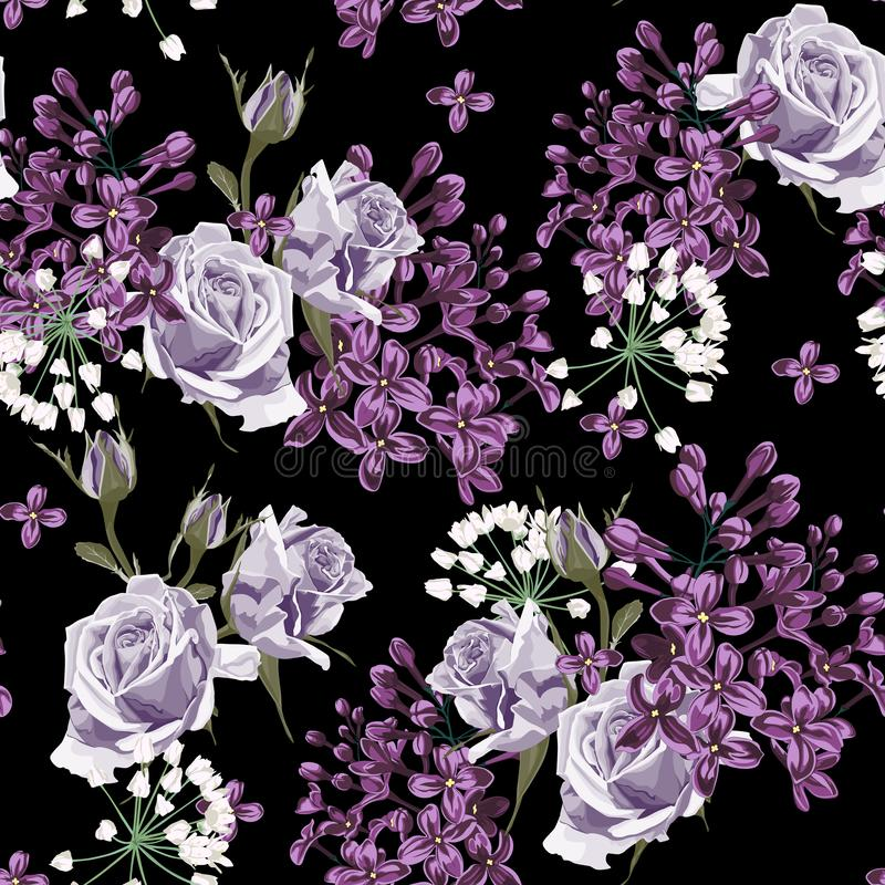 Lilac and violet roses seamless pattern. Spring tenderness background. Black backdrop. White herbs royalty free illustration