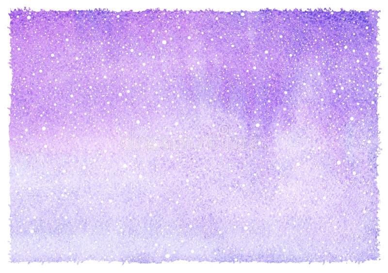 Lilac, violette horizontale de gradiëntachtergrond van de de winterwaterverf royalty-vrije illustratie